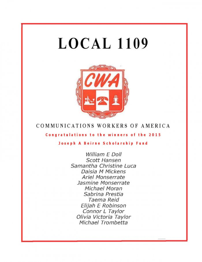 Cwa 1109 Communications Workers Of America Local 1109
